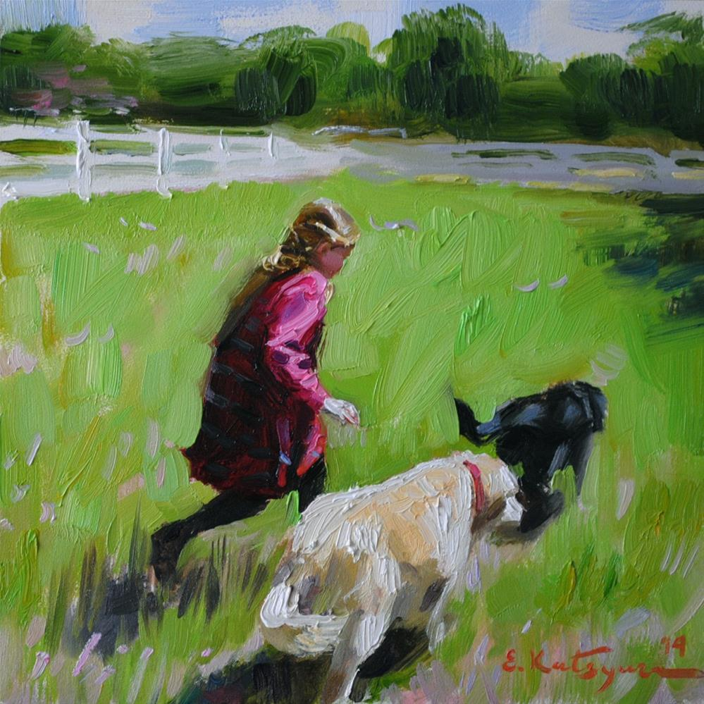 """""""The Chase"""" original fine art by Elena Katsyura"""