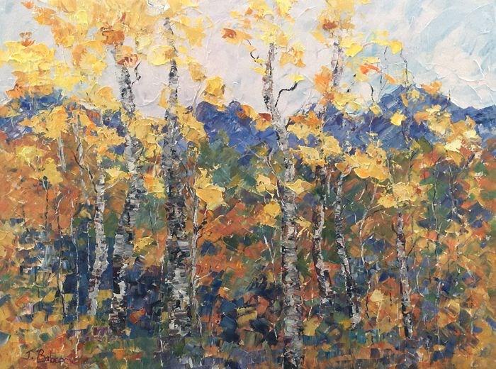 """Original Palette Knife Colorado Landscape Aspen Tree Art Painting Into The Meadow by Colorado Arti"" original fine art by Judith Babcock"