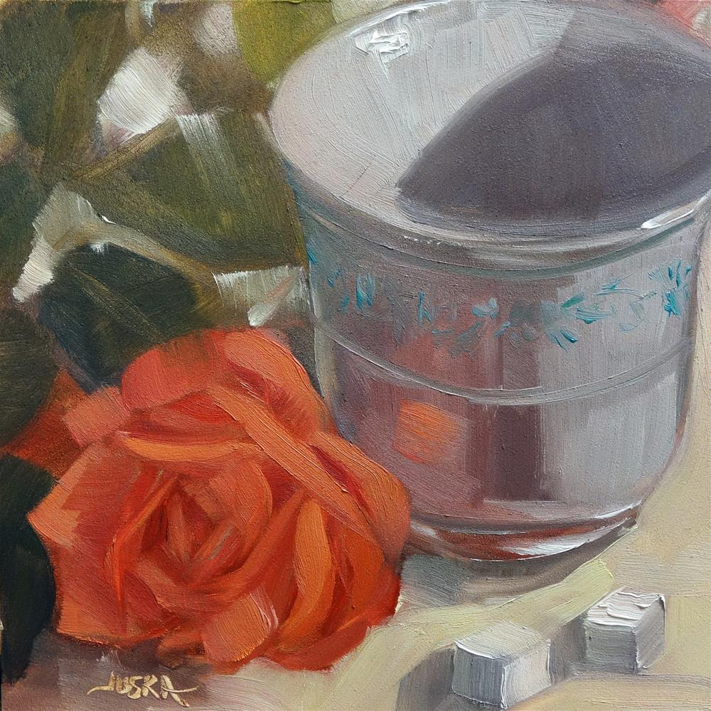 """Rose and Porcelain"" original fine art by Elaine Juska Joseph"