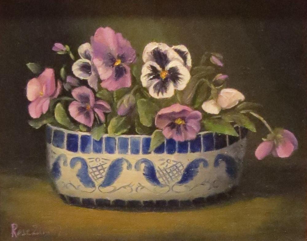 """""""Pansies in a dish"""" original fine art by Rose Zdrazil"""