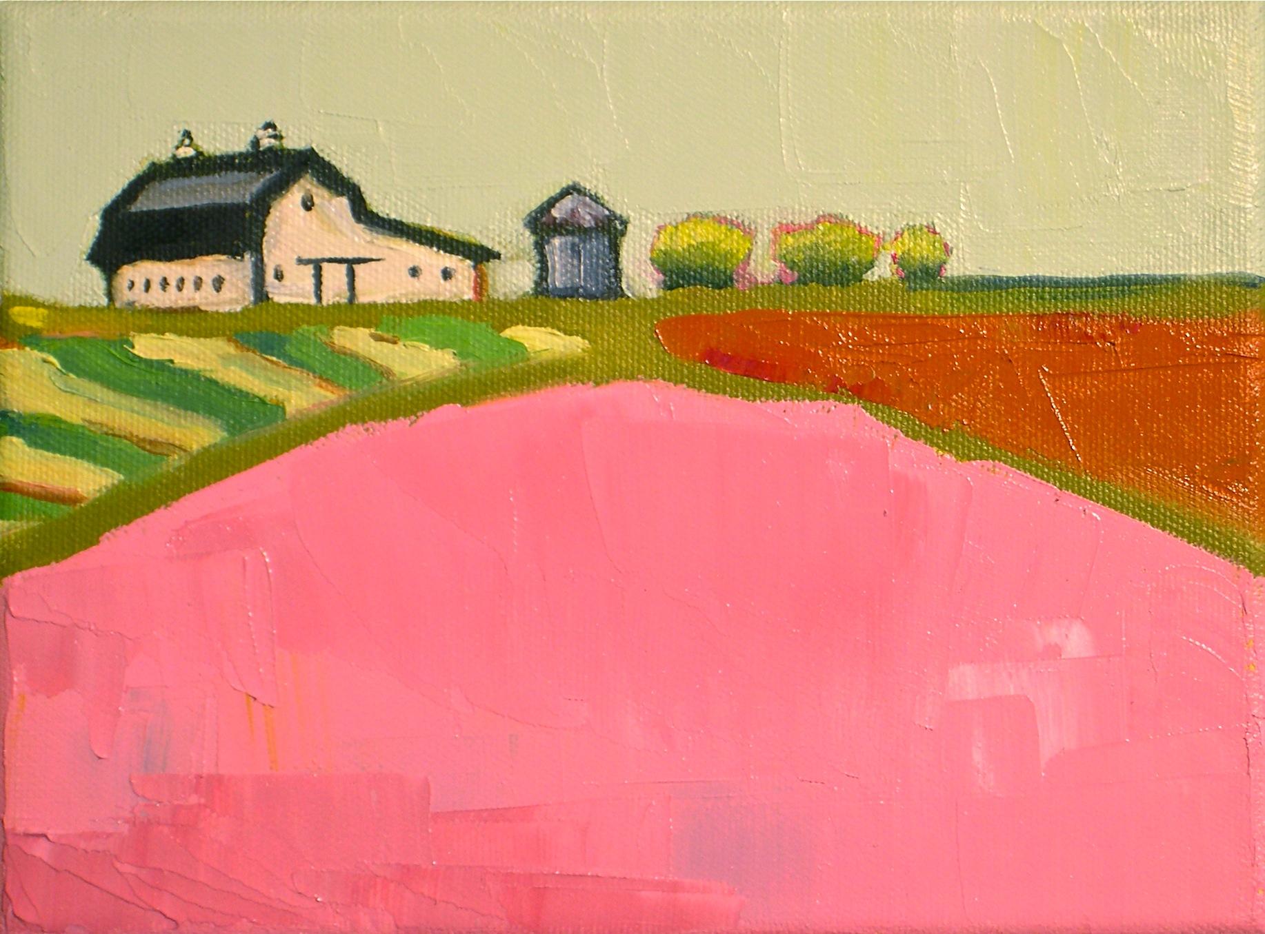 """""""Pink Fields II"""" original fine art by Donna Walker"""