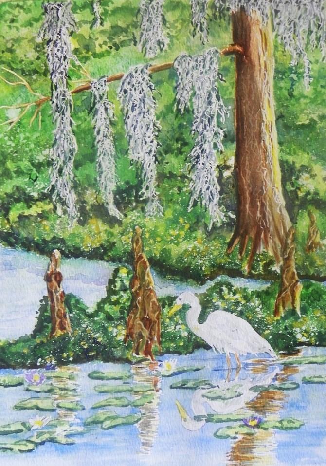 """Cypress Egret   #193"" original fine art by Jim Whiteside"