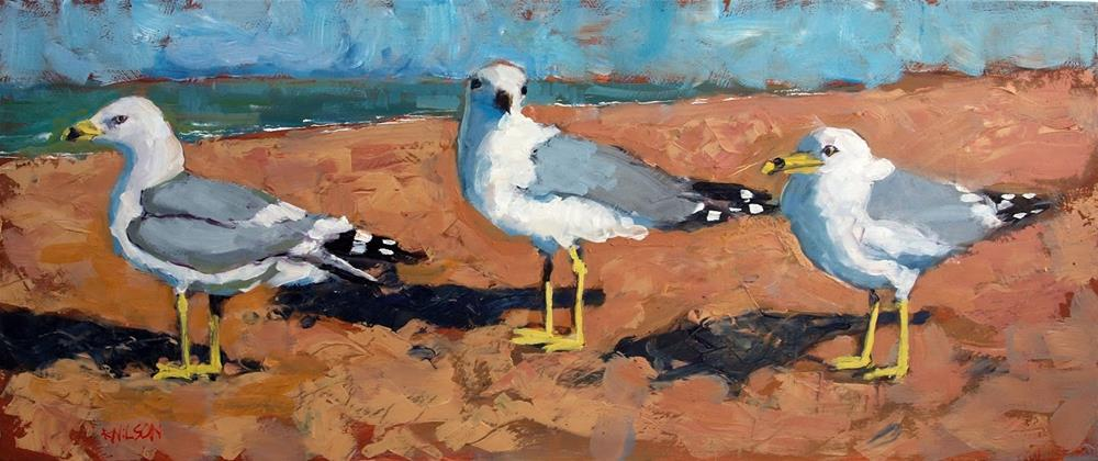 """Beach Gulls"" original fine art by Rick Nilson"