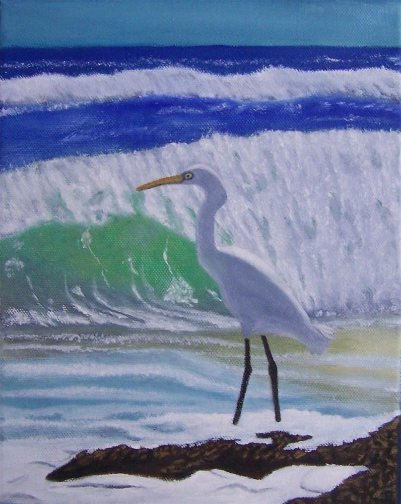"""Egret by the Sea"" original fine art by John Marcum"
