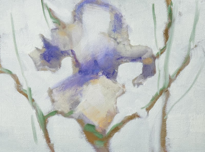 """Still Life Floral Painting, Flower Art IRIS BLOSSOM III by Colorado Artist Susan Fowler"" original fine art by Susan Fowler"