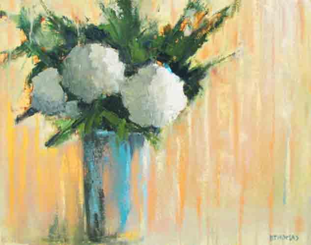 """""""Hydrangeas in Blue Vase"""" original fine art by Donna Thomas"""