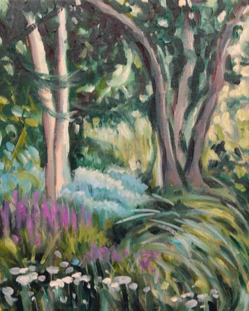 """Flowers and shade"" original fine art by Hilary J. England"