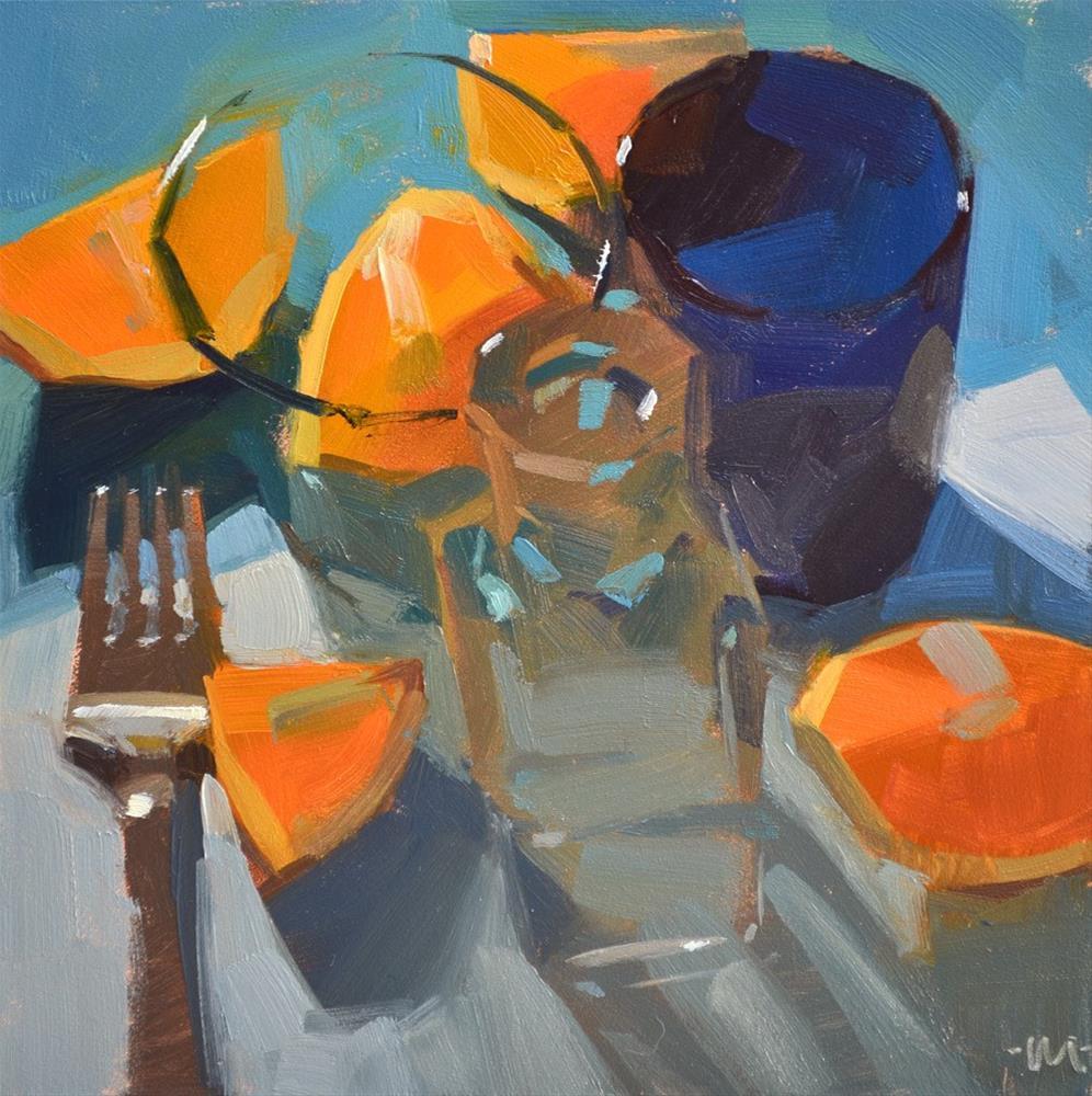 """Orange and Blue Bits"" original fine art by Carol Marine"