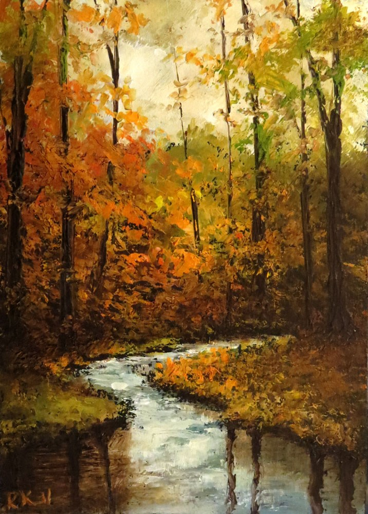 """River-bend in the Woods"" original fine art by Bob Kimball"
