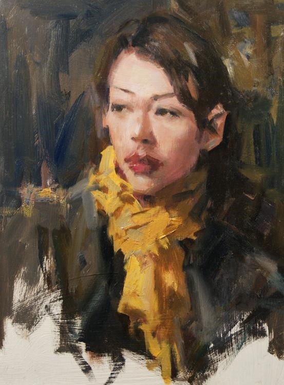 """Yellow Scarf"" original fine art by Mike Peterson"