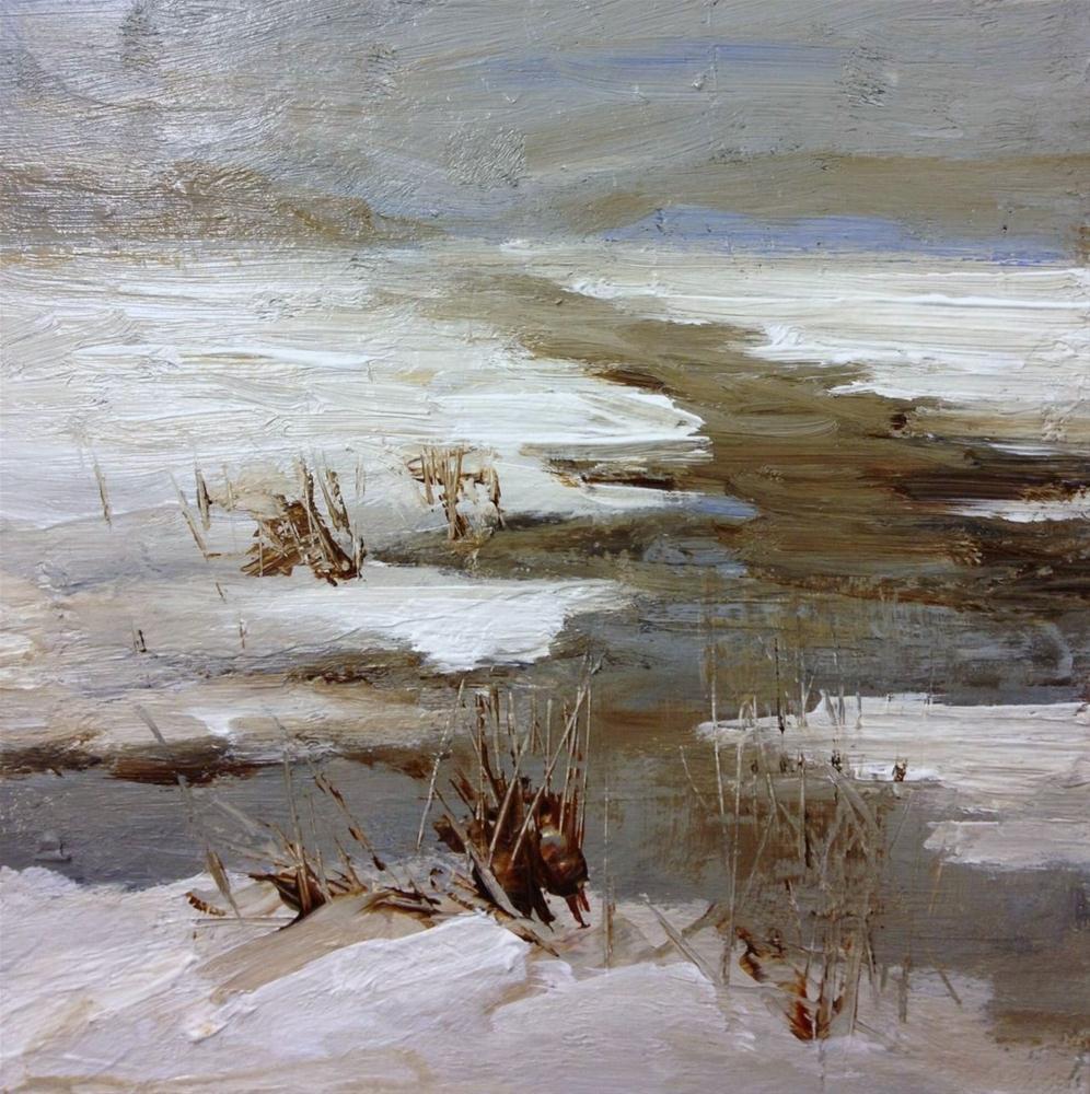 """snow on the river"" original fine art by Parastoo Ganjei"