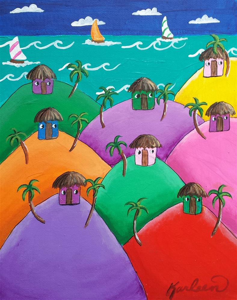 """Beach Huts and Palm Trees"" original fine art by Karleen Kareem"