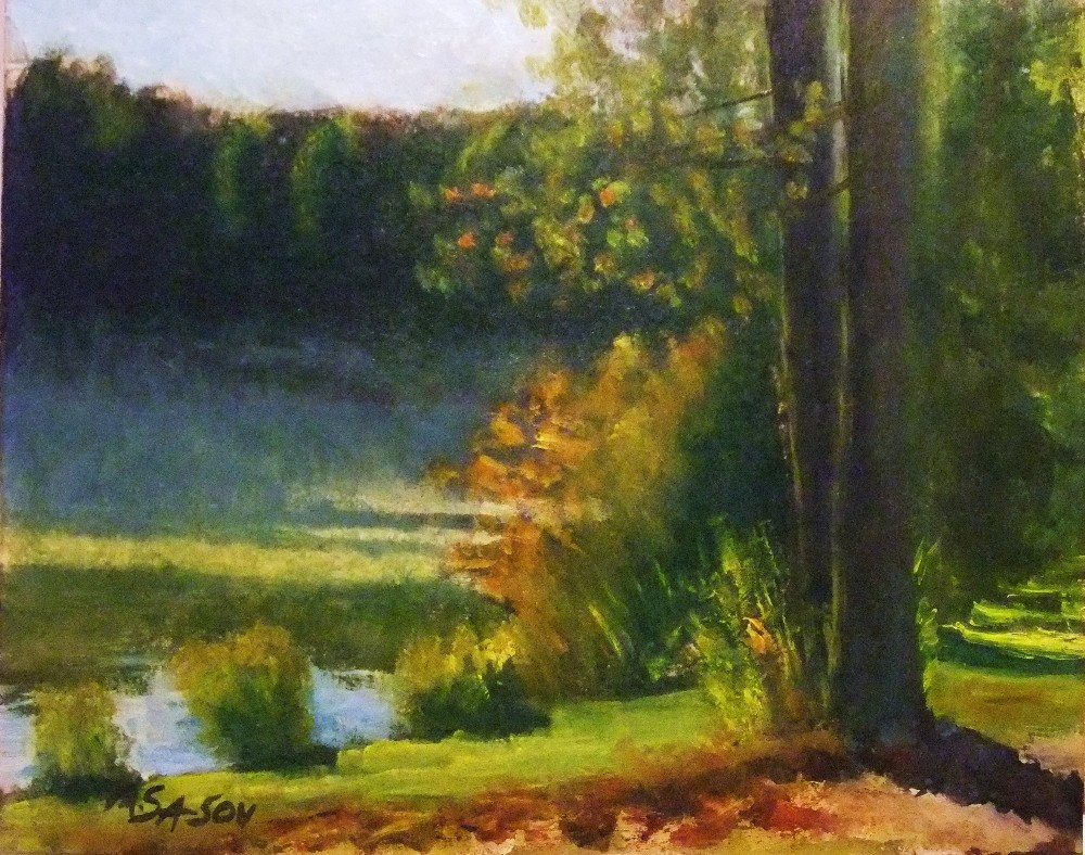 """Rising fog, lakeside - early morning"" original fine art by Michael Sason"