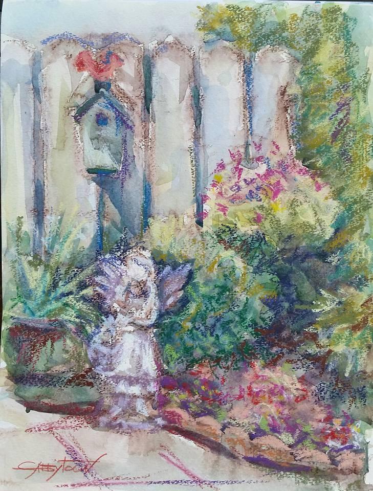 """Mimi's Backyard"" original fine art by Gabriella DeLamater"