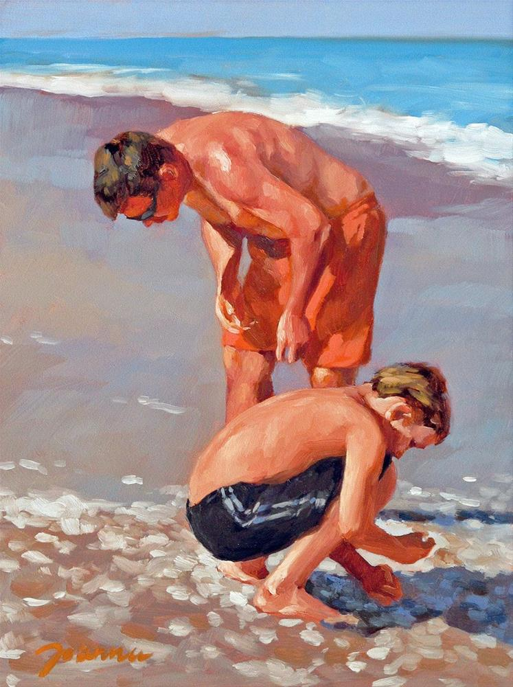 """The Supporter--Series Painting of Father and Child on the Beach"" original fine art by Joanna Bingham"