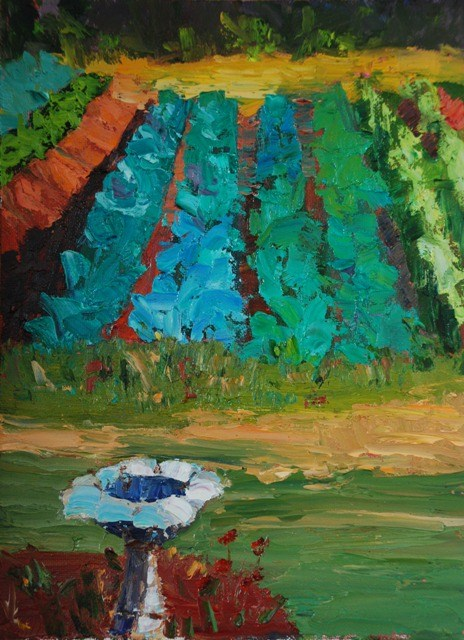 """Birdbath at Boggy Creek Farm"" original fine art by Liz Zornes"