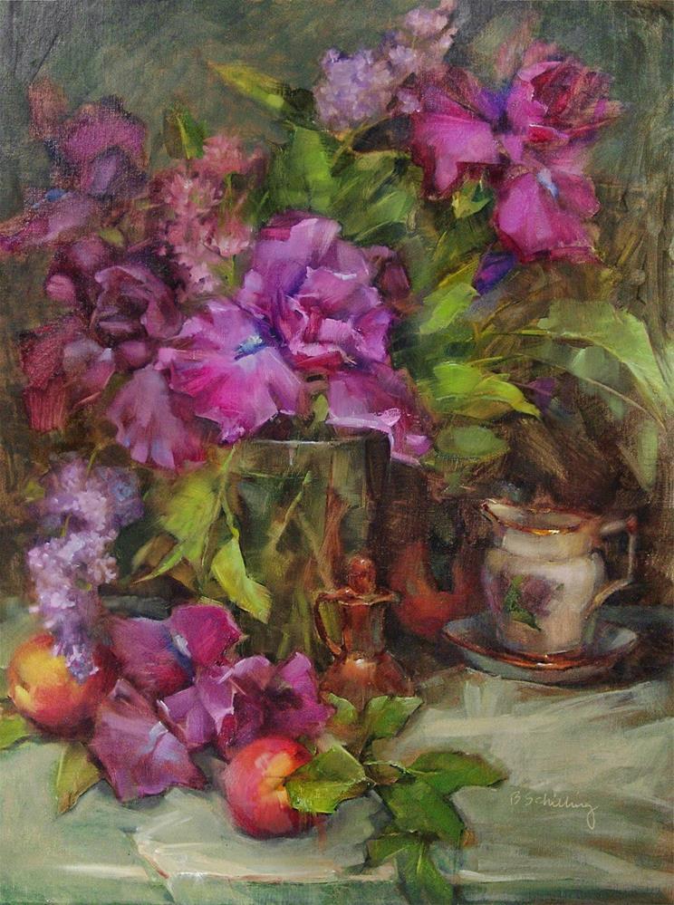 """""""Irises and Nectarines"""" original fine art by Barbara Schilling"""