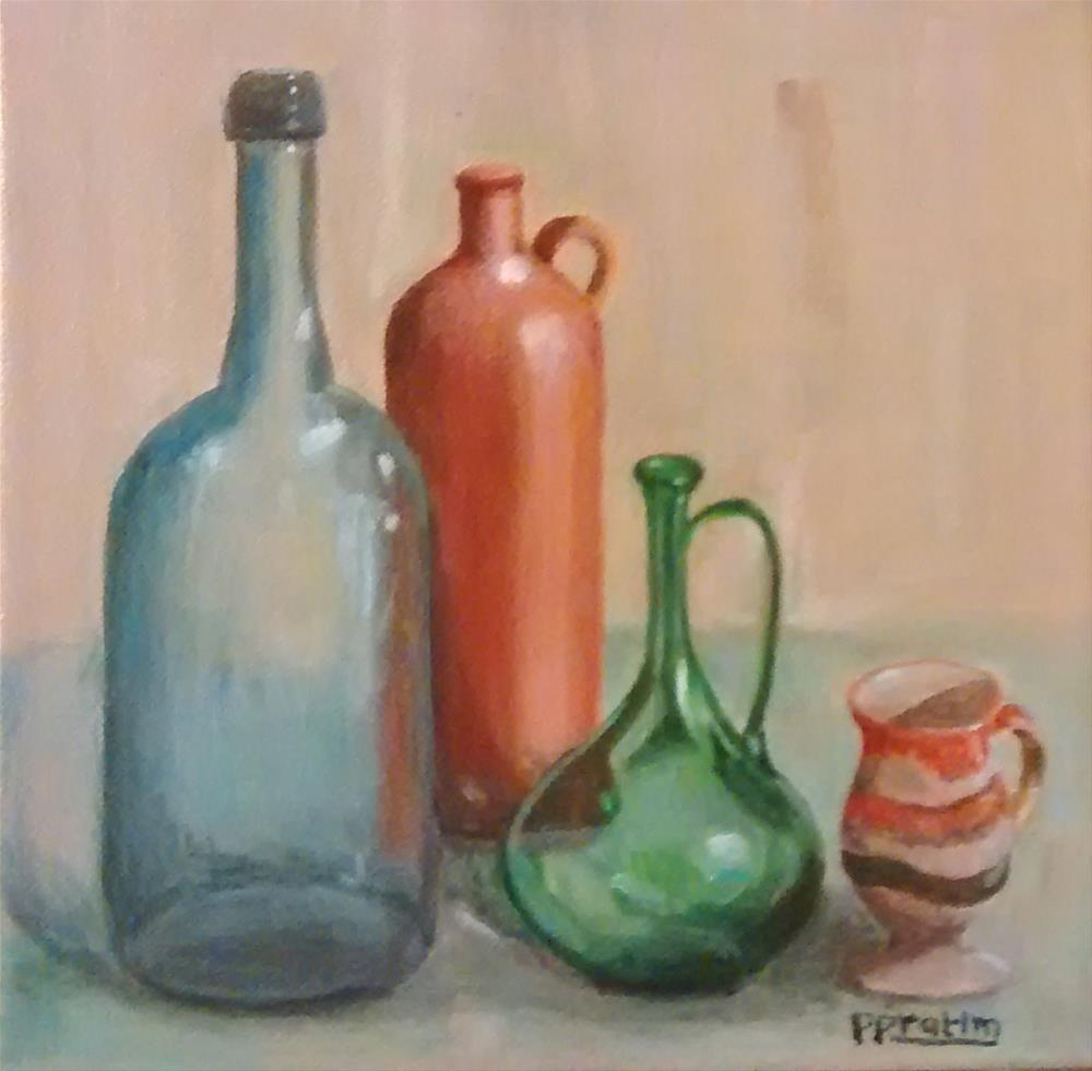 """Bottles"" original fine art by Pratima Patel"
