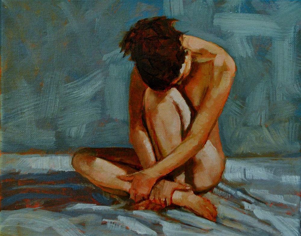 """Resting Nude 8x10 oil on canvas in darkwood frame"" original fine art by David Larson Evans"