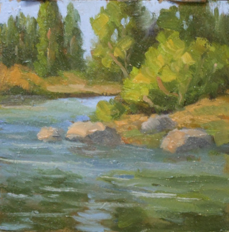 """Plein Air on the creek"" original fine art by Jim Moyer"