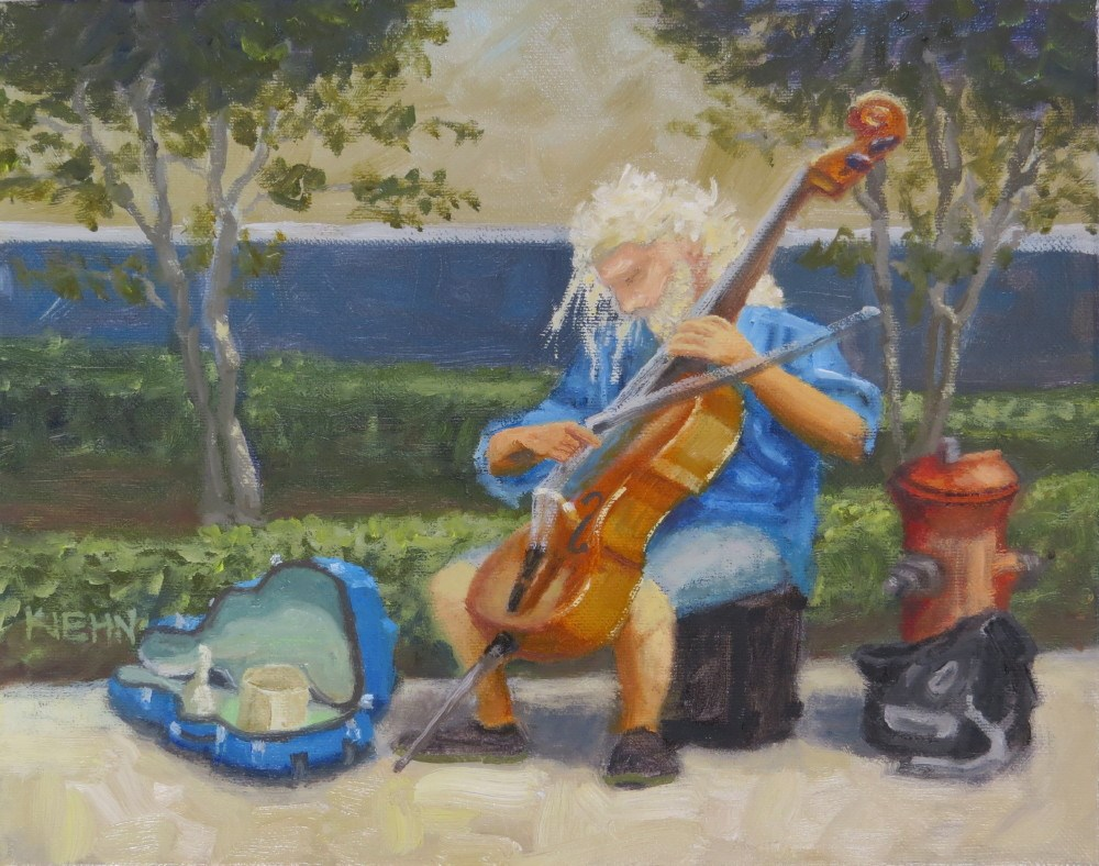 """Mello Fellow Plucking His Cello"" original fine art by Richard Kiehn"