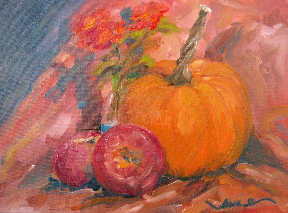 """Lantana, Pumpkin, and Apples"" original fine art by Susan Elizabeth Jones"