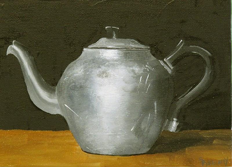 """Vintage Aluminum Teapot"" original fine art by Sherry Bellamy"