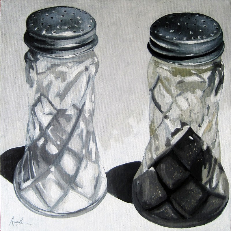 """Vintage Salt and Pepper Shakers realism still life oil painting"" original fine art by Linda Apple"