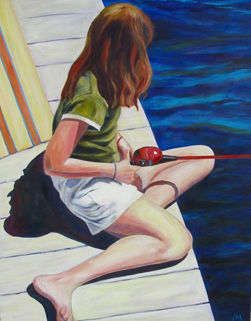 """Reel Girl"" original fine art by Patricia MacDonald"