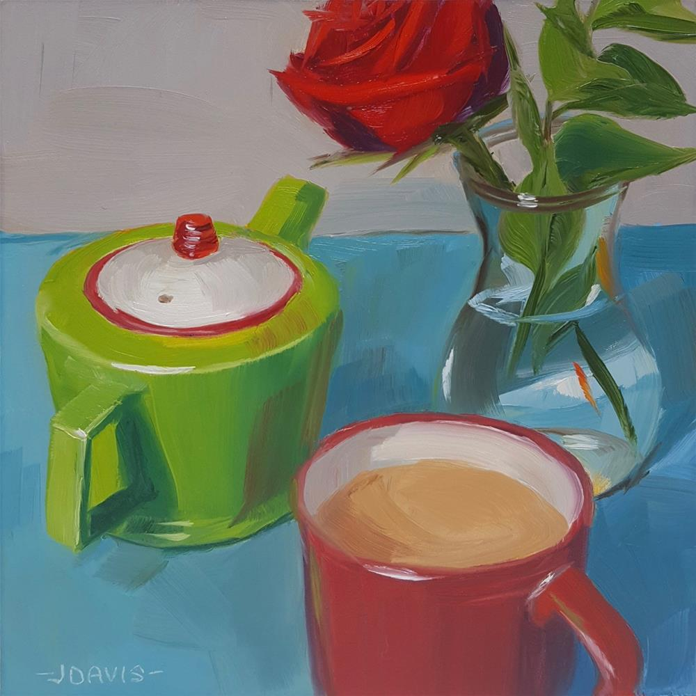 """Me time, tea time"" original fine art by Jacqueline Davis"