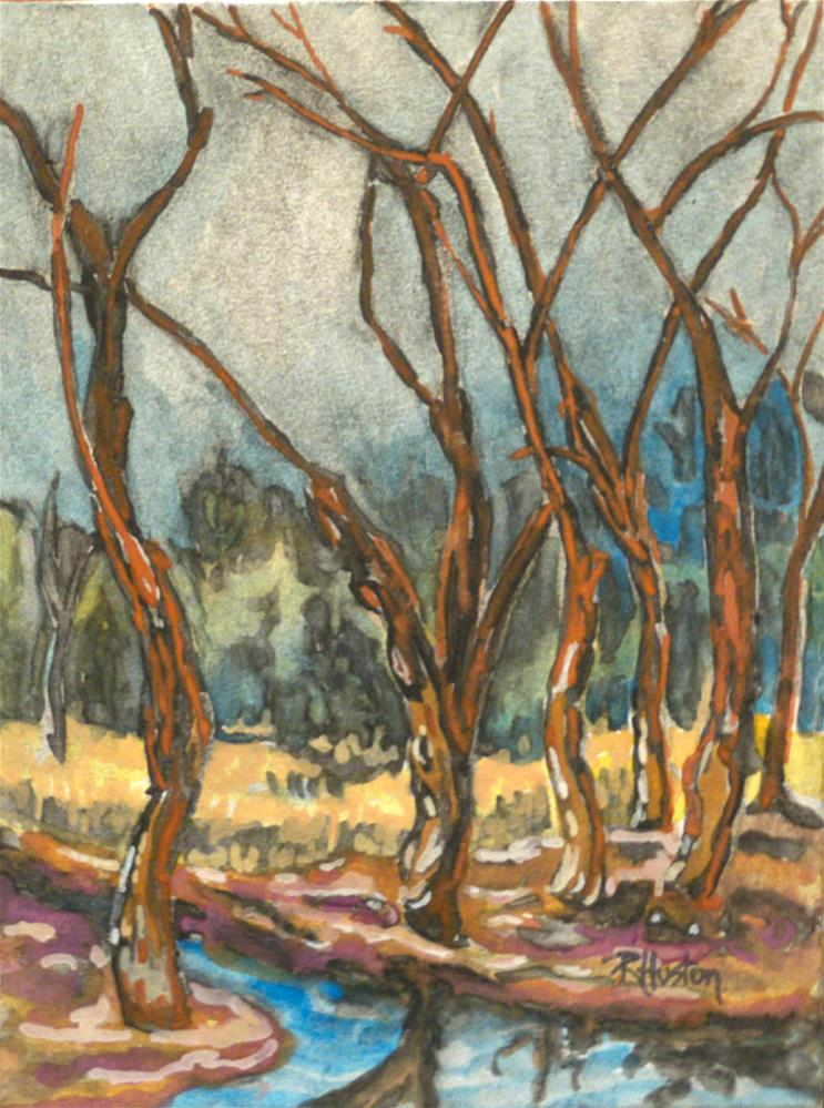 """Botanical Garden 35... beaver pond in winter"" original fine art by Richard Huston"