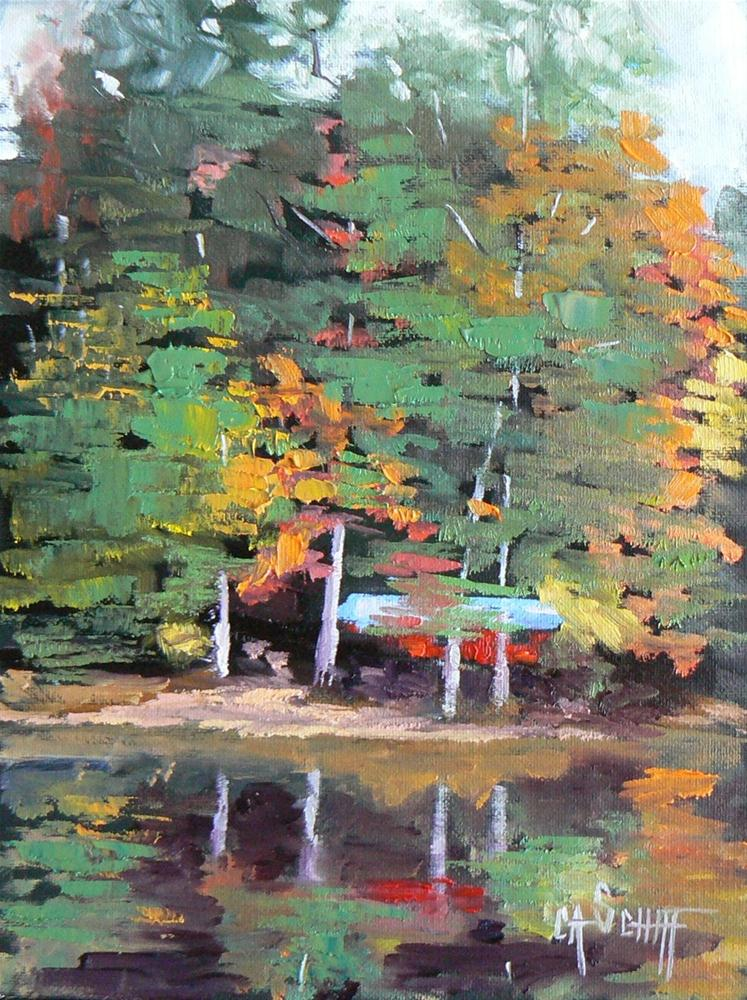 """Daily Painting, Small Landscape A Touch of Fall 6x8 Original Oil"" original fine art by Carol Schiff"