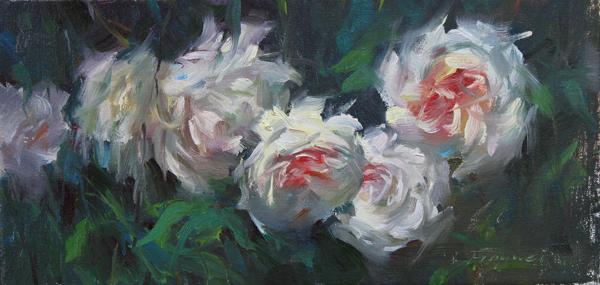 """Blooming Roses"" original fine art by Fongwei Liu"