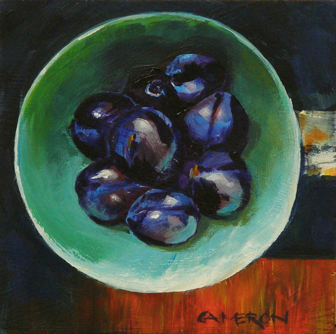 """BOWL OF PLUMS"" original fine art by Brian Cameron"
