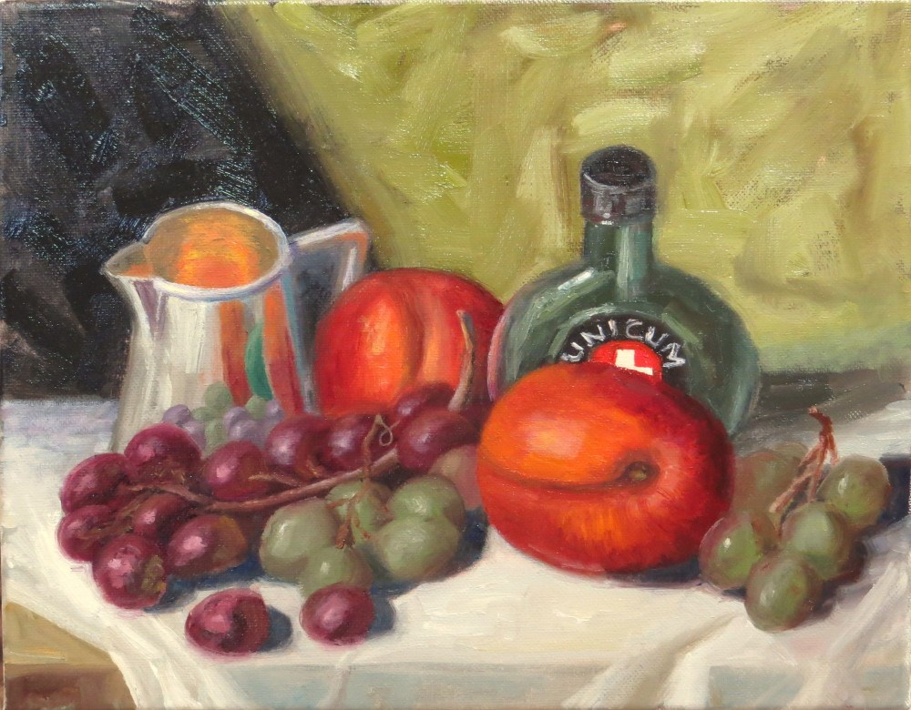 """Fruit with Creamer and Bottle"" original fine art by Richard Kiehn"