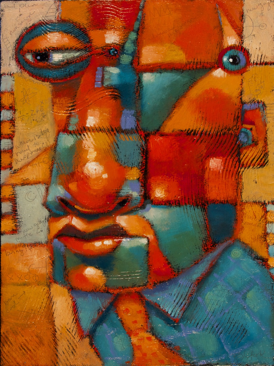 """Guys In Ties #9, The Urbanite"" original fine art by Brenda York"