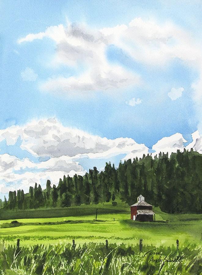 """Clouds over Kamiak Butte"" original fine art by Andy Sewell"
