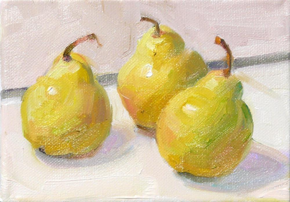 """Three July Pears,still life,oil on canvas,5x7,price$175"" original fine art by Joy Olney"