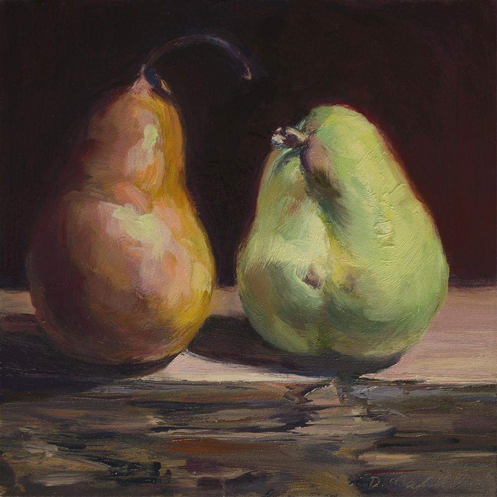 """Bartlett and Bosc Pear of Cousins"" original fine art by Denise Maxwell"