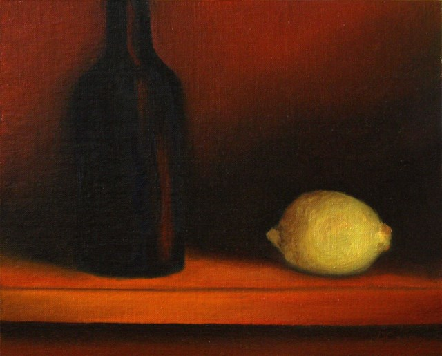 """Bottle and Lemon at Sunset"" original fine art by Dave Casey"