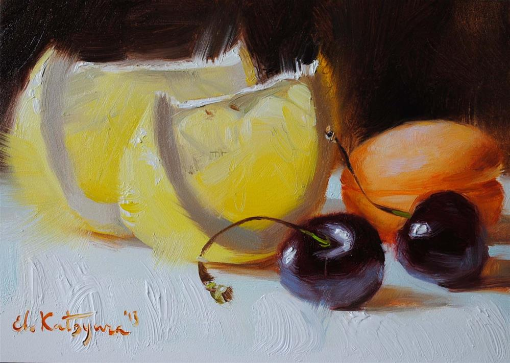 """Grapefruit and Cherries"" original fine art by Elena Katsyura"
