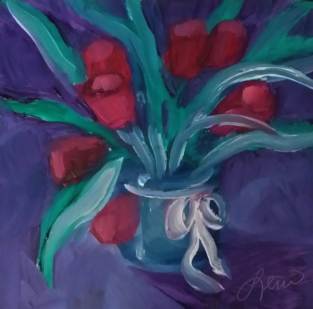 """Secret Tulips"" original fine art by Leni Tarleton"