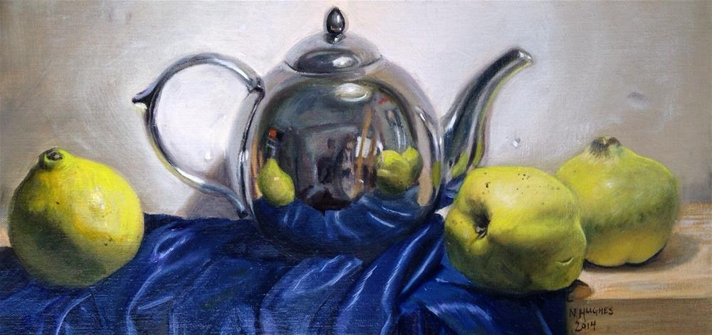 """Self-Portrait in a Kettle (with Quinces)"" original fine art by Naomi Hughes"