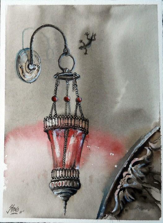 """The Geko and The Red Lantern"" original fine art by Martin Stephenson"