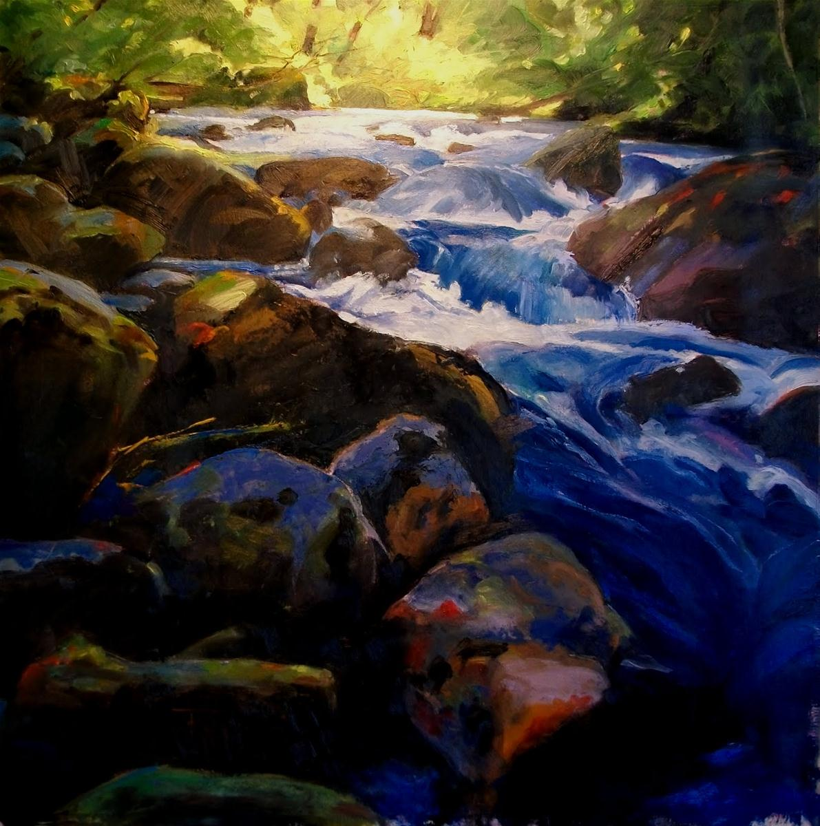 """Big Quilcene Cascade oil landscape painting, Olympic National Park"" original fine art by Robin Weiss"
