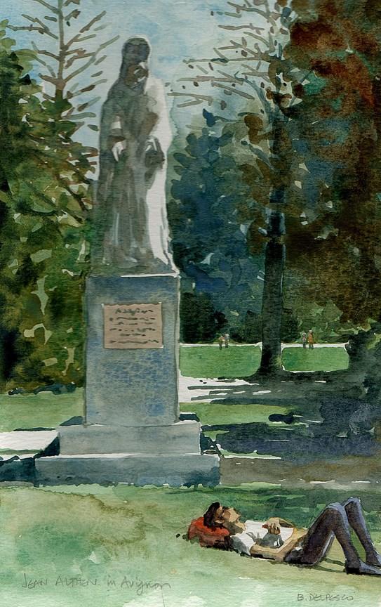 """Watercolor: Jean Althen Statue, Papal Palace Gardens, Avignon"" original fine art by Belinda Del Pesco"