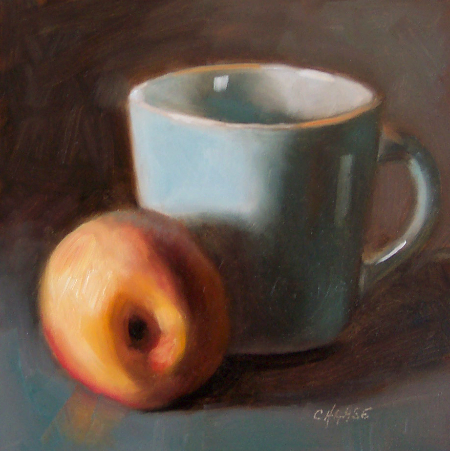 """Peach and Blue Cup"" original fine art by Cindy Haase"