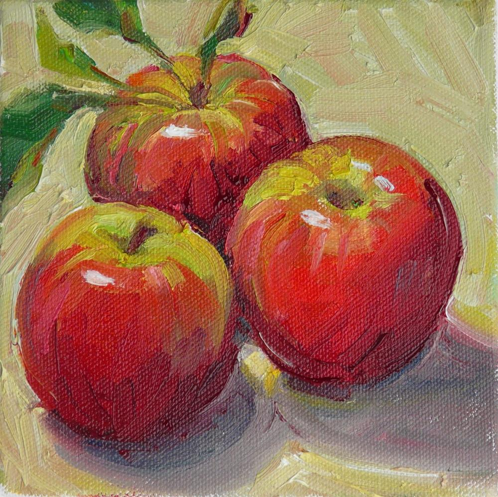 """Early October Apples,still life,oil on canvas,6x6,price$200"" original fine art by Joy Olney"