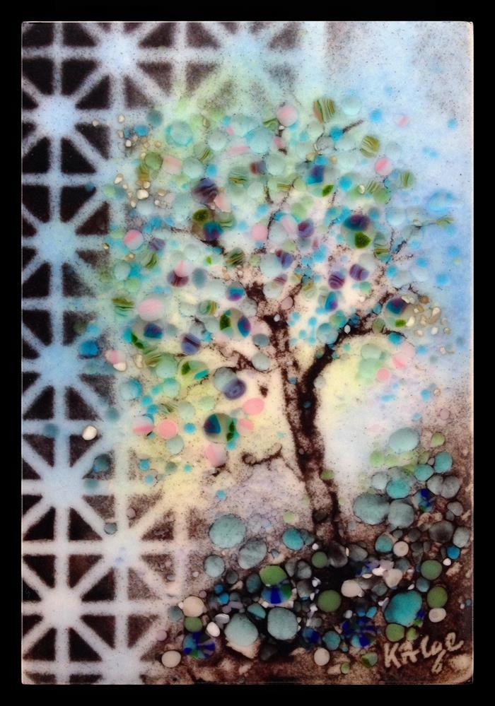 """""""Blue Plum Japan Garden"""" original fine art by Kelly Alge"""