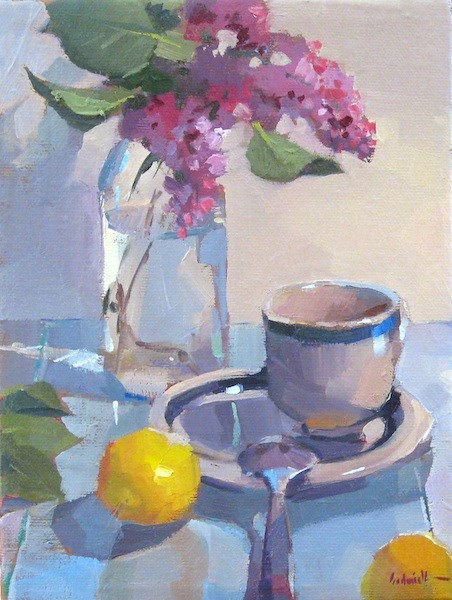 """Lilacs and Tea"" original fine art by Sarah Sedwick"